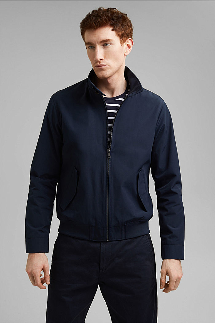 Recycled: Harrington jacket with checked lining, NAVY, detail image number 0