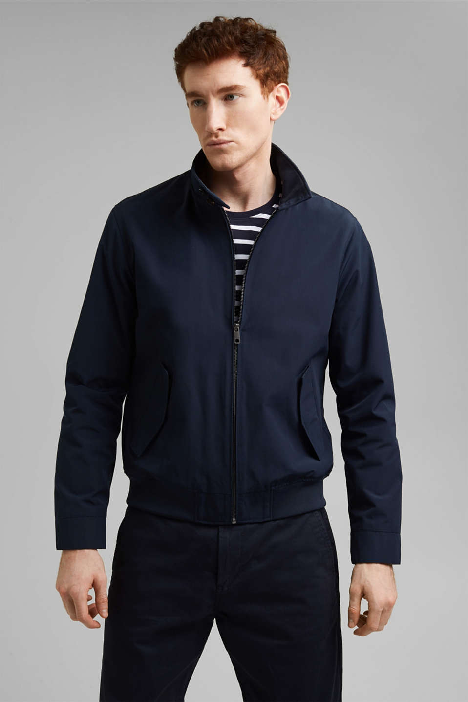 Esprit - Af genanvendte materialer: harrington-jakke med ternet for