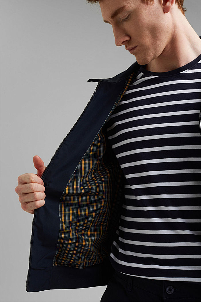 Recycled: Harrington jacket with checked lining, NAVY, detail image number 4