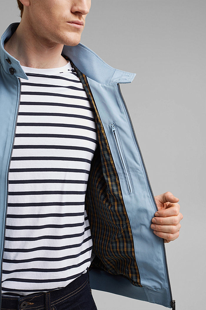 Recycled: Harrington jacket with checked lining, GREY BLUE, detail image number 2