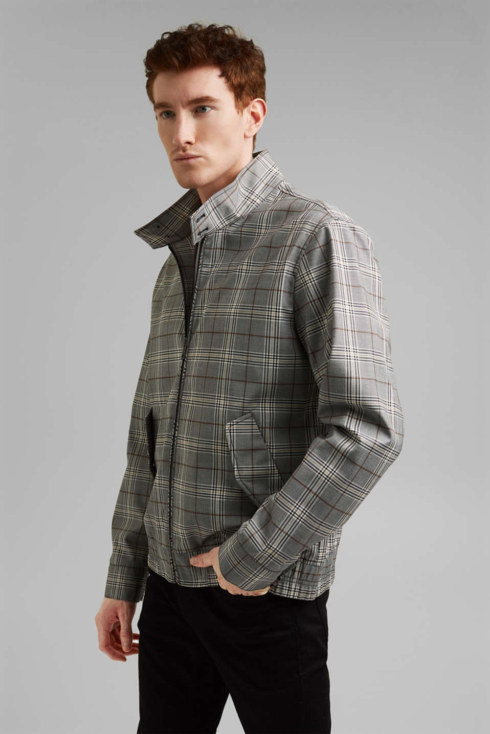 Esprit - Recycled: Harrington jacket with a check pattern