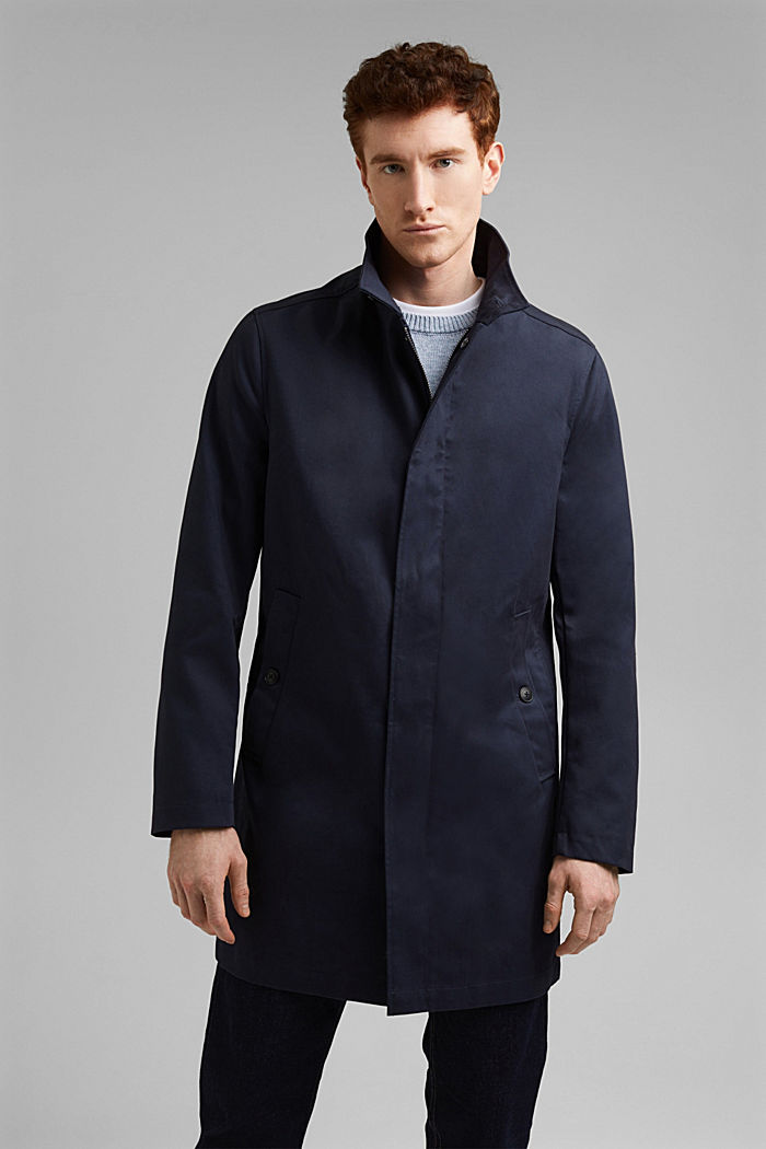 Summer coat made of organic cotton, DARK BLUE, detail image number 0