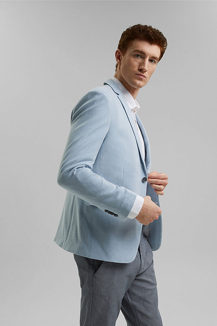 Textured sports jacket, organic cotton, GREY BLUE, detail image number 4