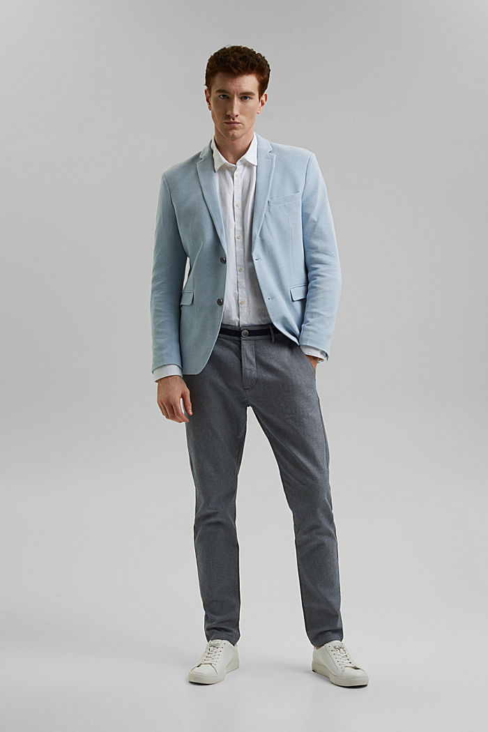 Textured sports jacket, organic cotton, GREY BLUE, detail image number 1