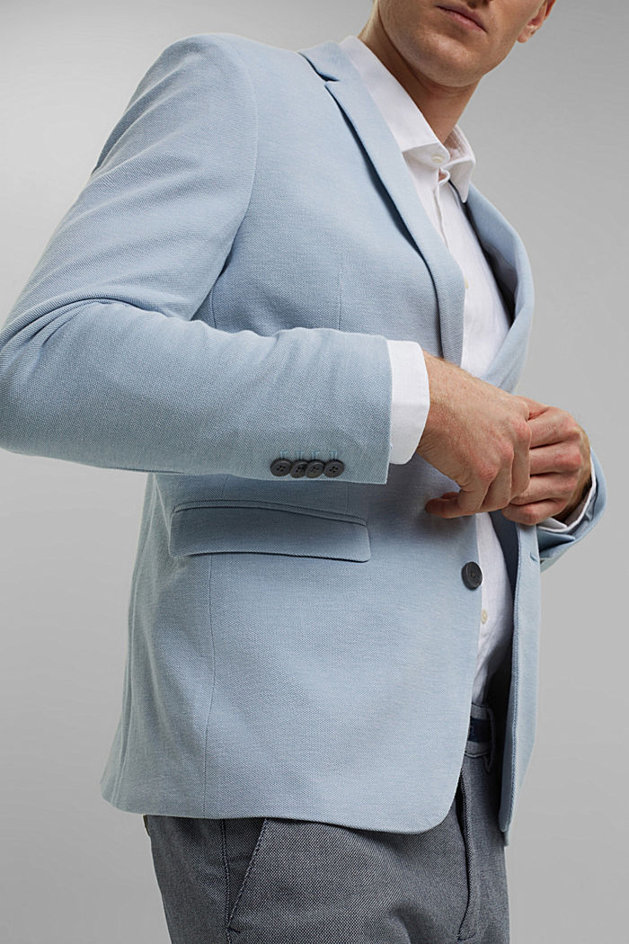 Textured sports jacket, organic cotton, GREY BLUE, detail image number 2