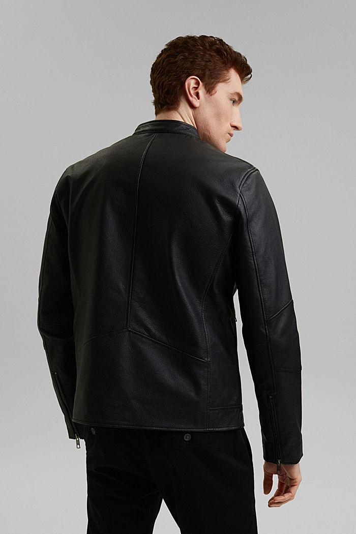 Cazadora  motera en 100 % piel, BLACK, detail image number 2