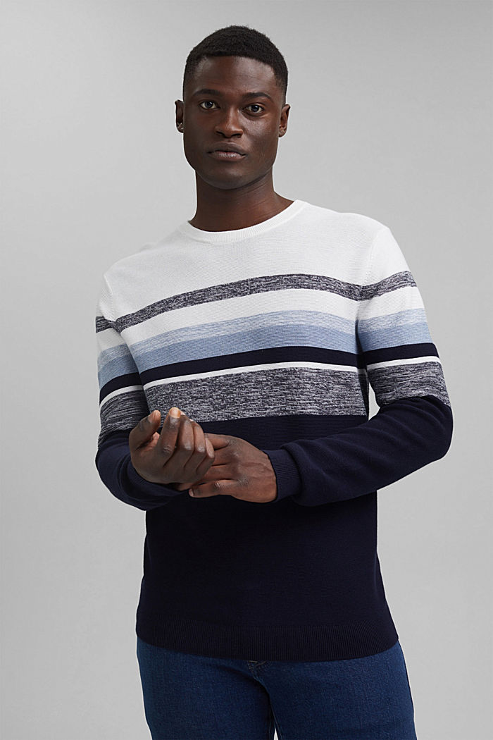 Jumper with stripes, 100% organic cotton, NAVY, detail image number 0