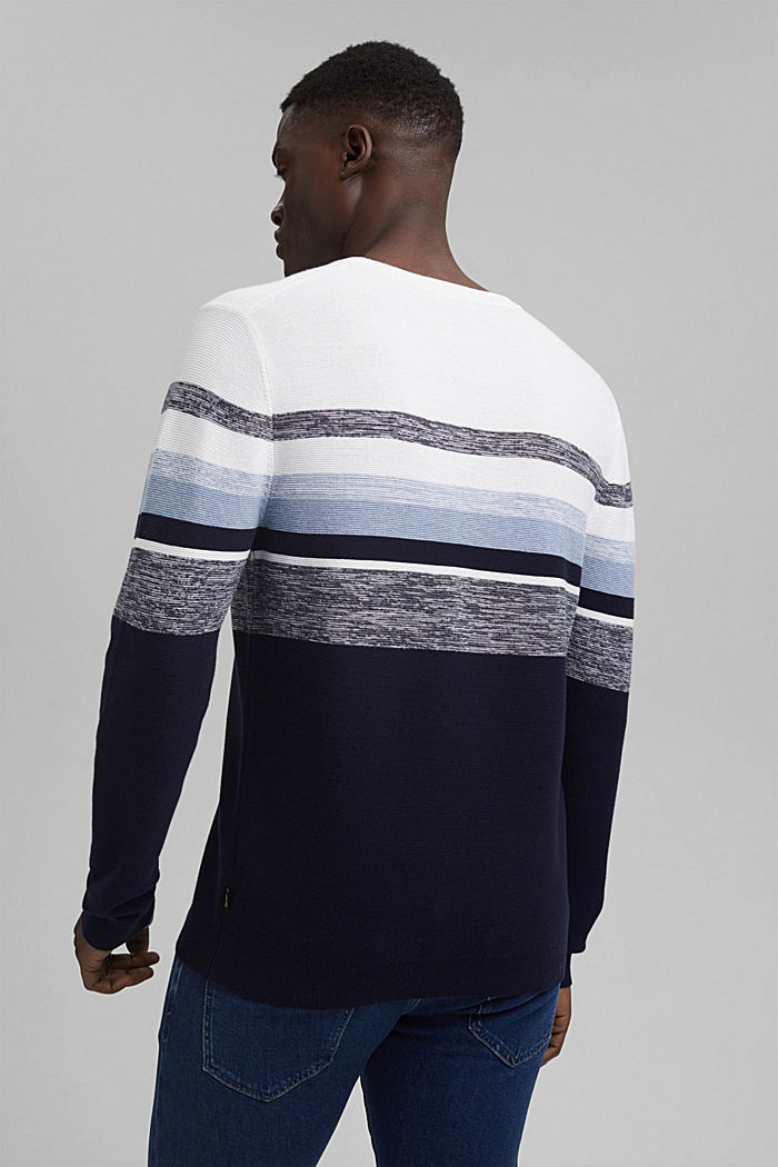 Jumper with stripes, 100% organic cotton, NAVY, detail image number 3