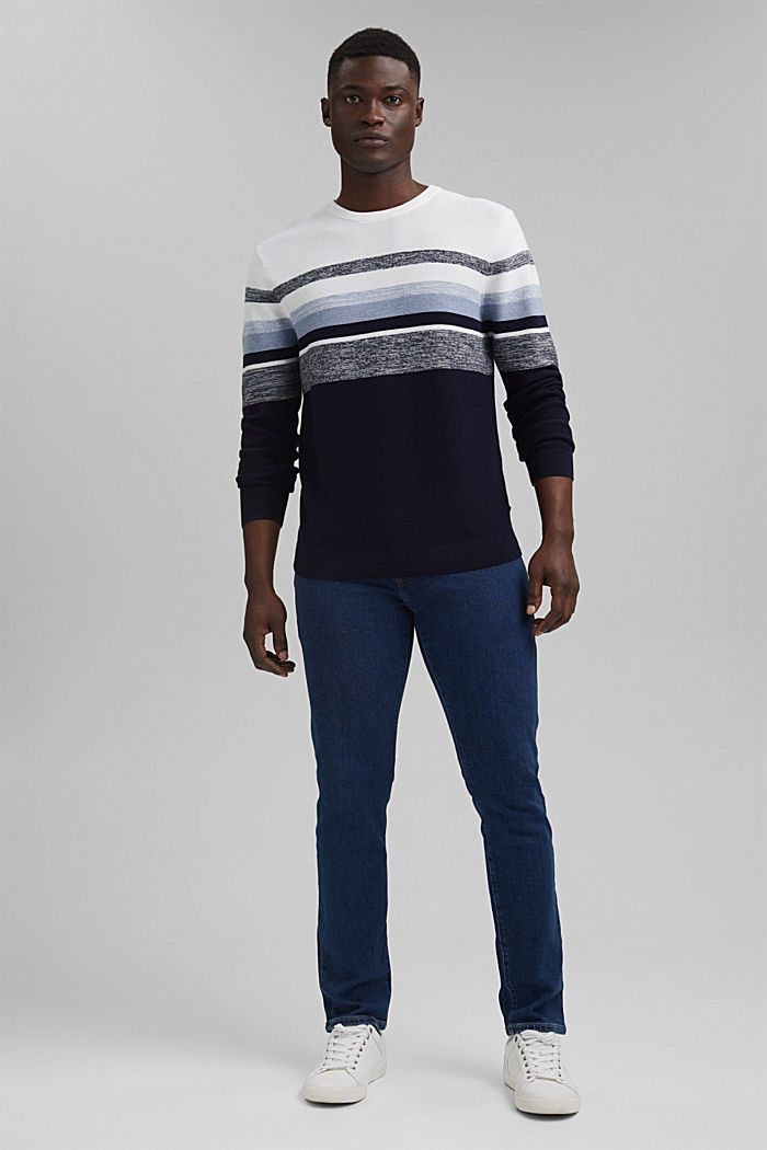 Jumper with stripes, 100% organic cotton, NAVY, detail image number 1