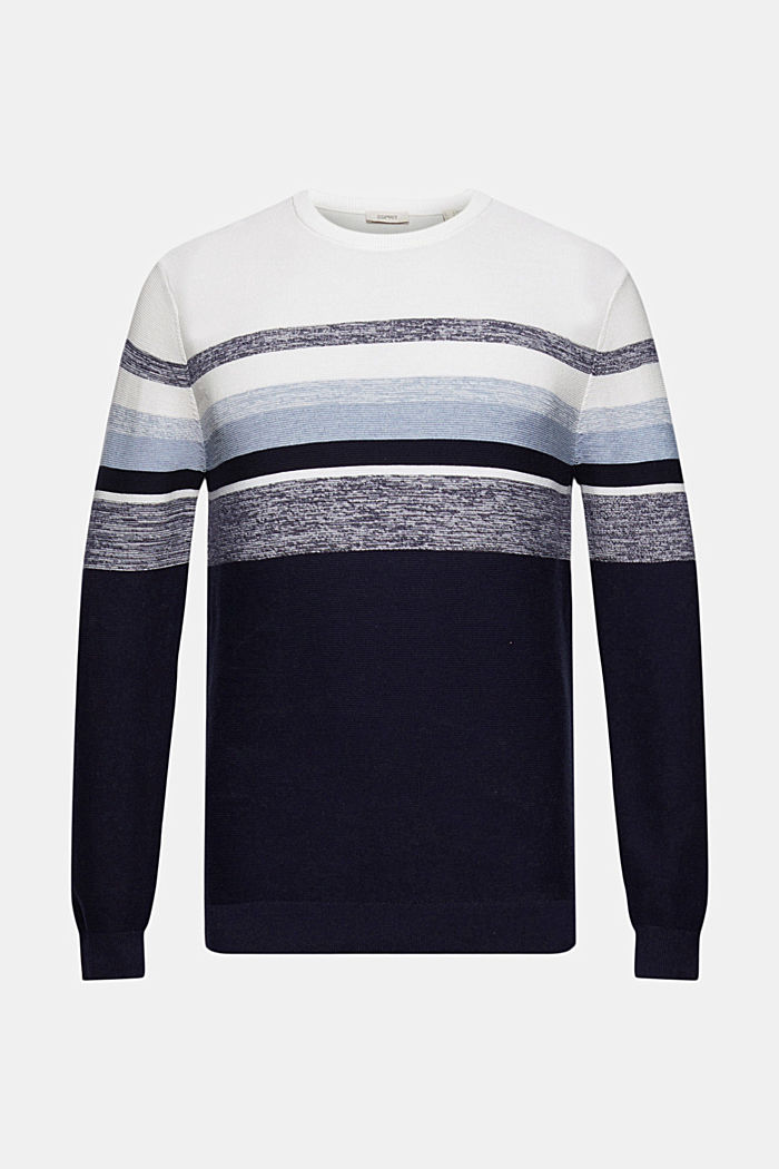 Jumper with stripes, 100% organic cotton, NAVY, detail image number 6