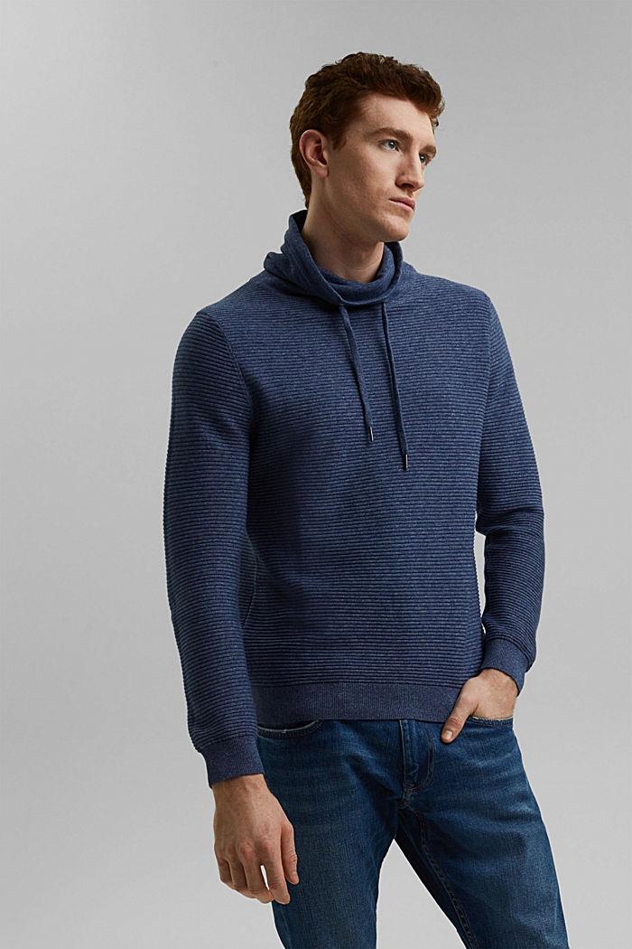 Textured jumper, 100% organic cotton, DARK BLUE, detail image number 0