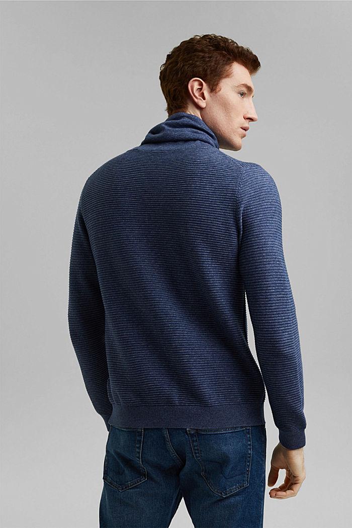 Textured jumper, 100% organic cotton, DARK BLUE, detail image number 3