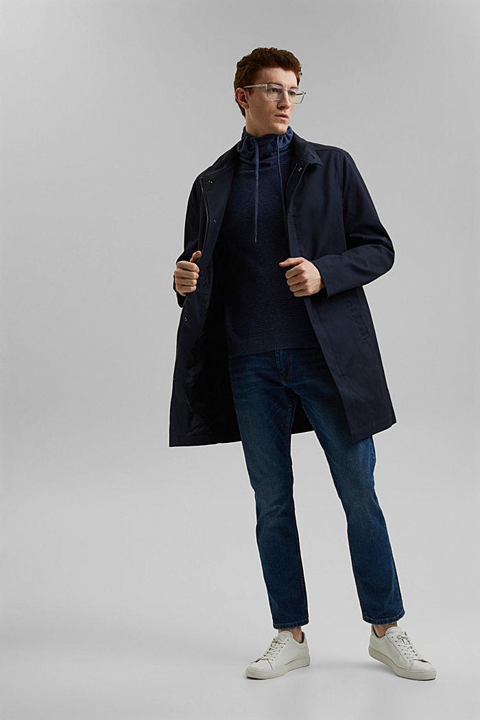 Textured jumper, 100% organic cotton, DARK BLUE, detail image number 1