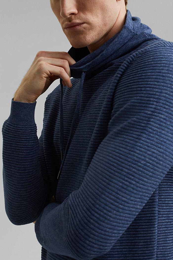 Textured jumper, 100% organic cotton, DARK BLUE, detail image number 2