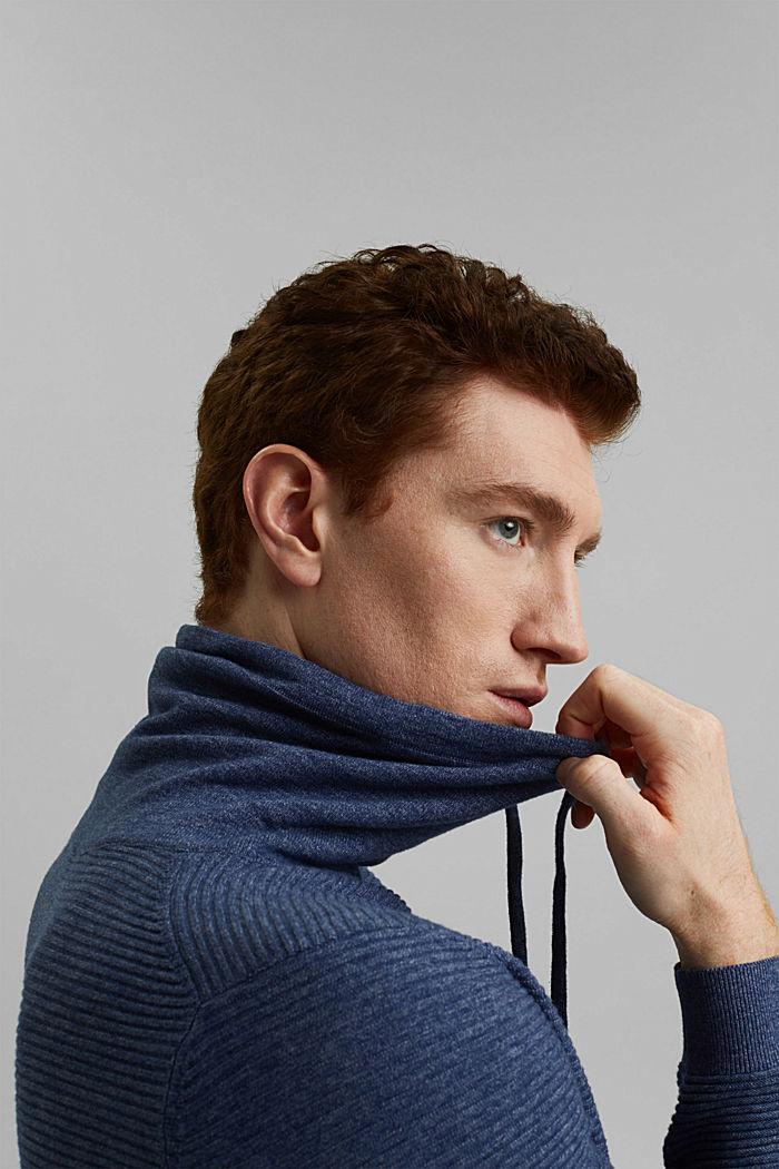 Textured jumper, 100% organic cotton, DARK BLUE, detail image number 5