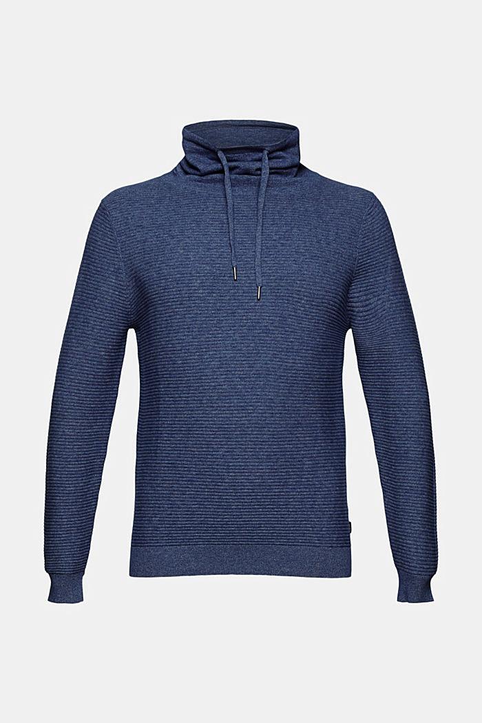 Textured jumper, 100% organic cotton, DARK BLUE, detail image number 6