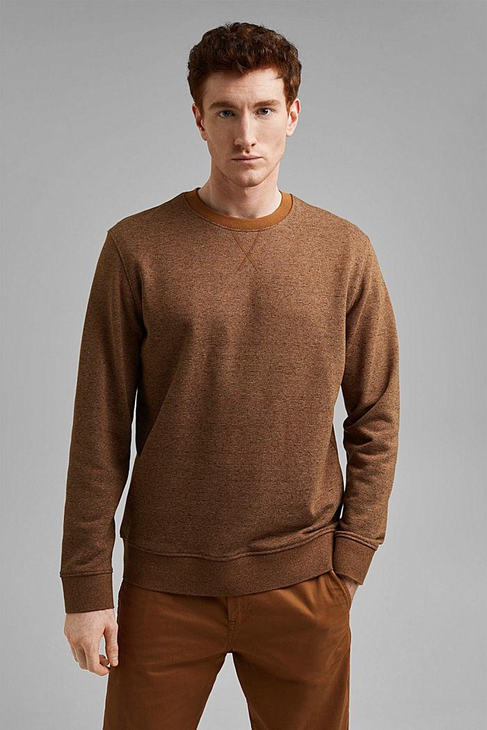 Recycled: organic cotton sweatshirt, CAMEL, detail image number 0