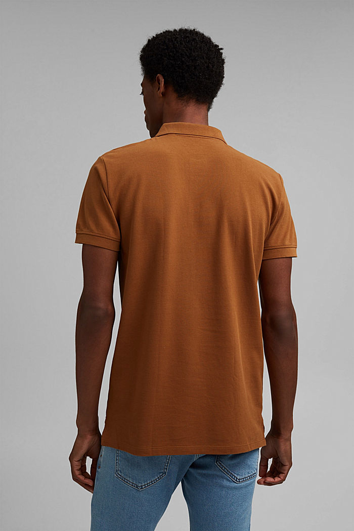 Piqué polo shirt in 100% organic cotton, CAMEL, detail image number 3