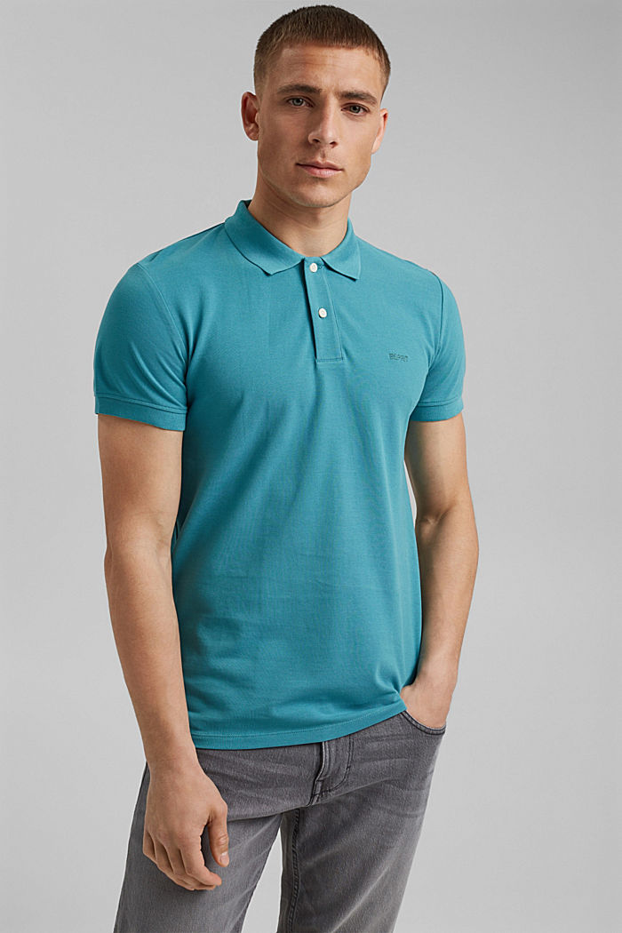 Piqué polo shirt in 100% organic cotton, LIGHT AQUA GREEN, detail image number 0