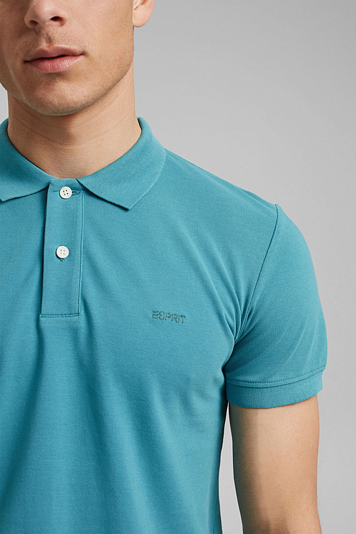 Piqué polo shirt in 100% organic cotton, LIGHT AQUA GREEN, detail image number 1