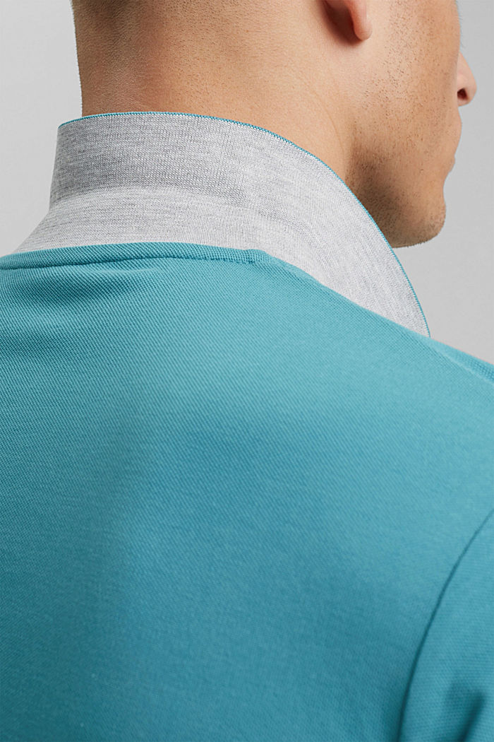 Piqué polo shirt in 100% organic cotton, LIGHT AQUA GREEN, detail image number 5