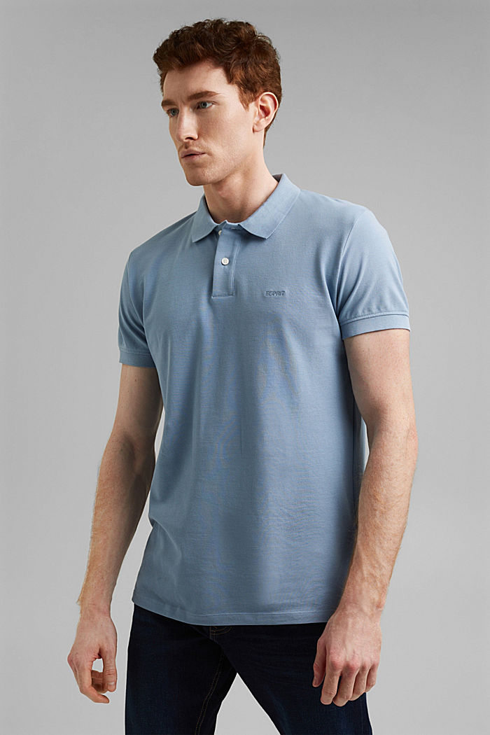 Piqué polo shirt in 100% organic cotton, GREY BLUE, detail image number 0