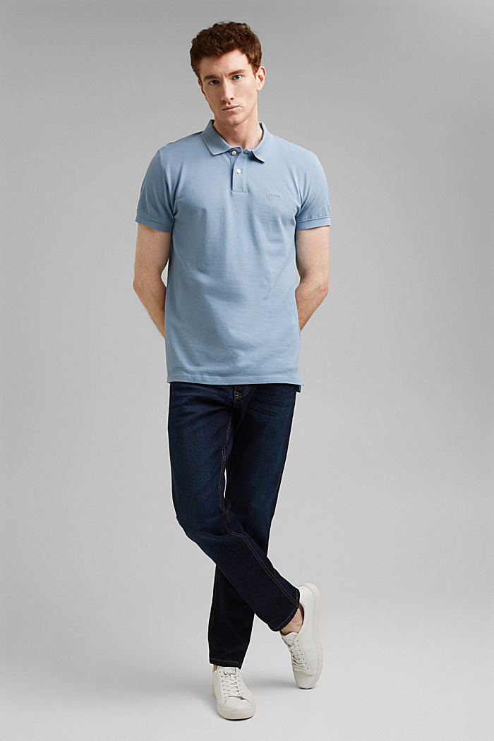 Piqué polo shirt in 100% organic cotton, GREY BLUE, detail image number 2