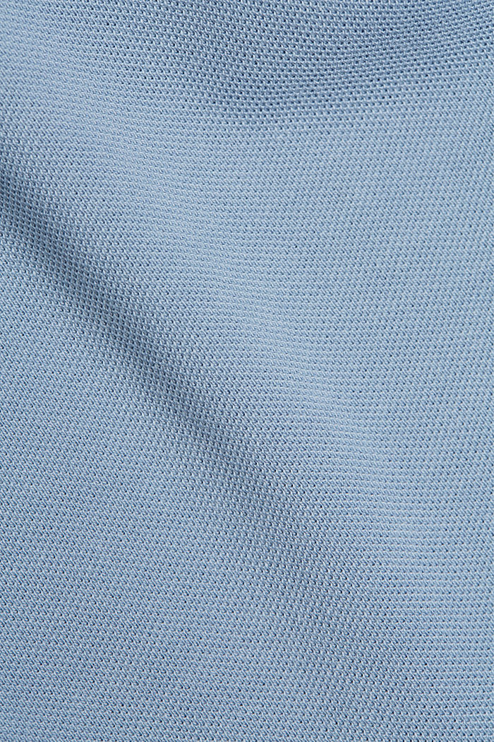 Piqué polo shirt in 100% organic cotton, GREY BLUE, detail image number 5