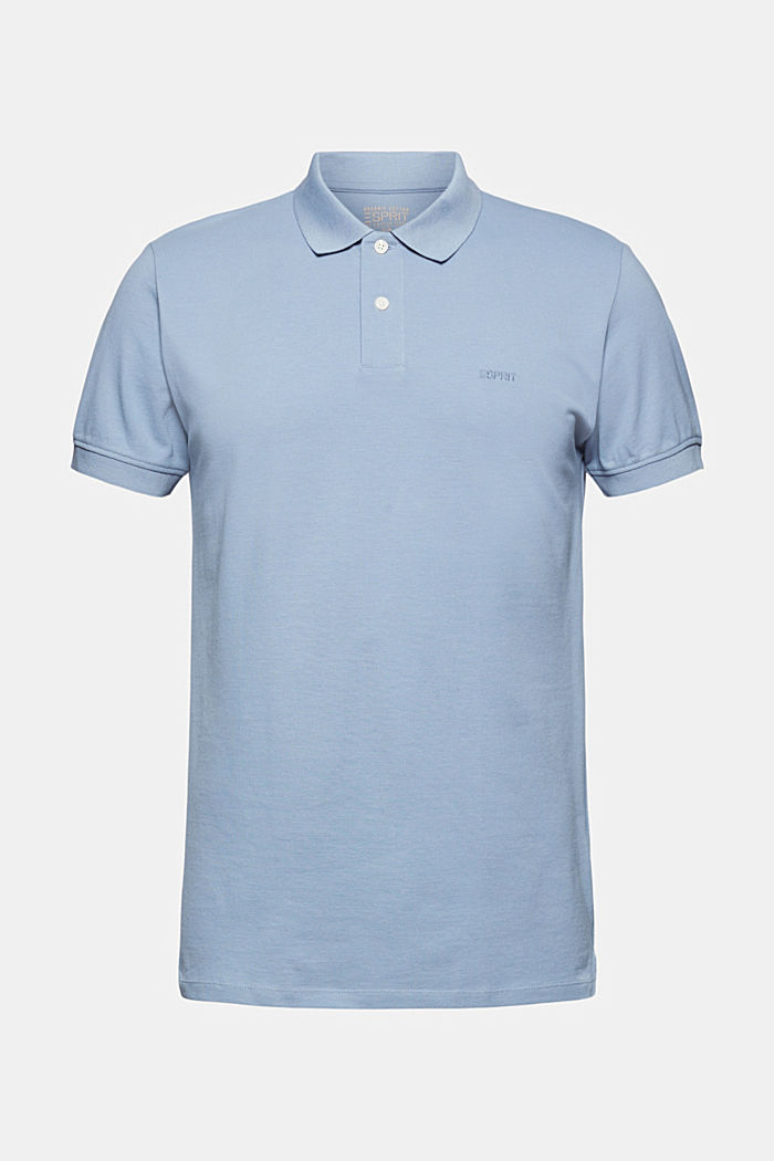 Piqué polo shirt in 100% organic cotton, GREY BLUE, detail image number 6