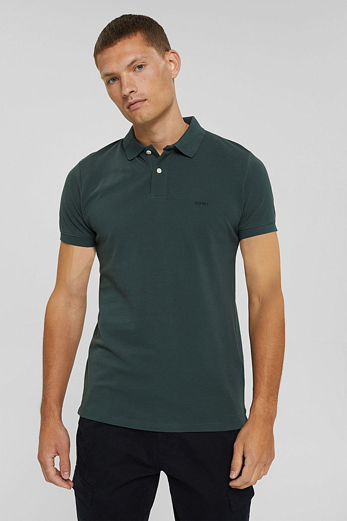 Piqué polo shirt in 100% organic cotton, TEAL BLUE, detail image number 0
