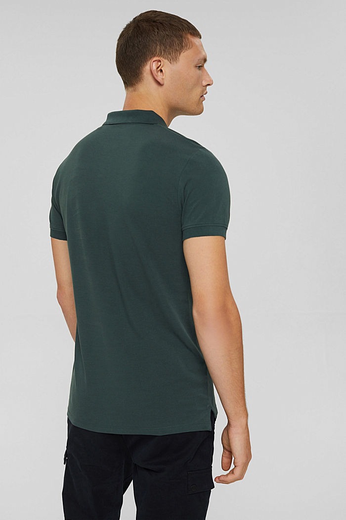 Piqué polo shirt in 100% organic cotton, TEAL BLUE, detail image number 3