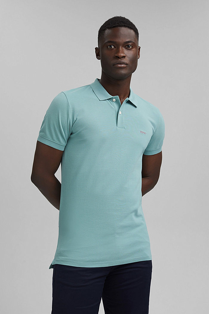 Piqué polo shirt in 100% organic cotton, TURQUOISE, detail image number 0