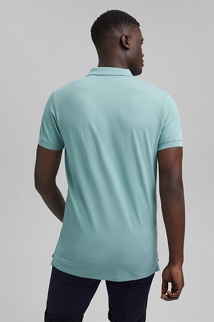 Piqué polo shirt in 100% organic cotton, TURQUOISE, detail image number 3