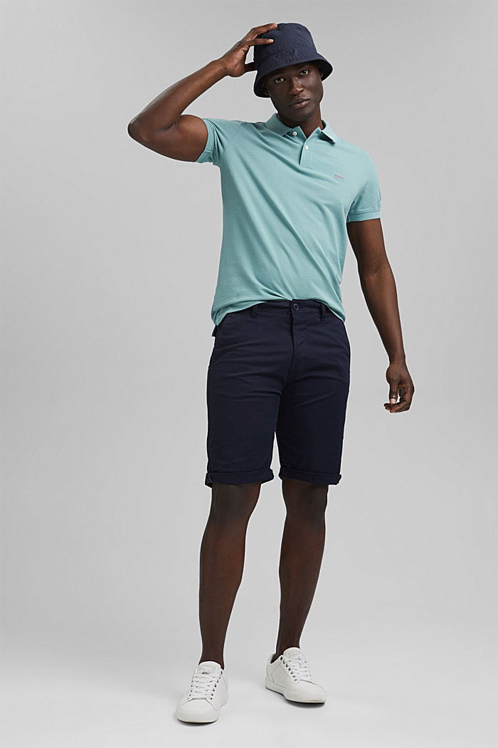 Piqué polo shirt in 100% organic cotton, TURQUOISE, detail image number 2