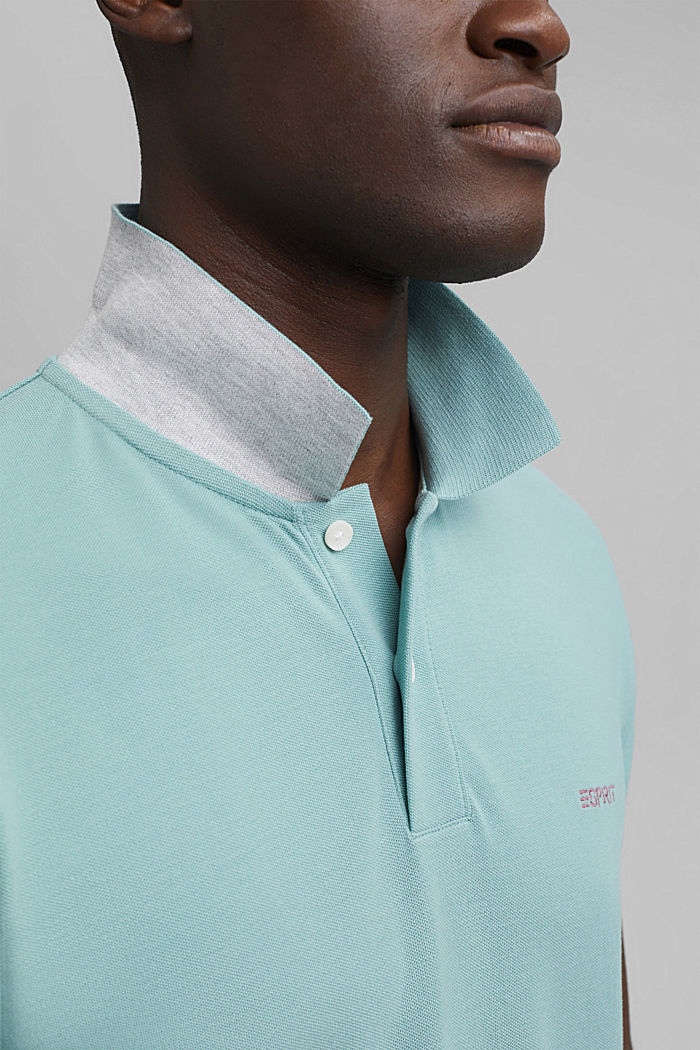 Piqué polo shirt in 100% organic cotton, TURQUOISE, detail image number 1