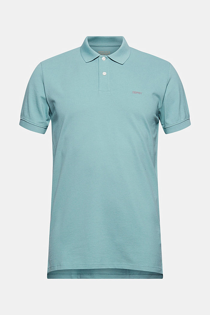 Piqué polo shirt in 100% organic cotton, TURQUOISE, detail image number 5
