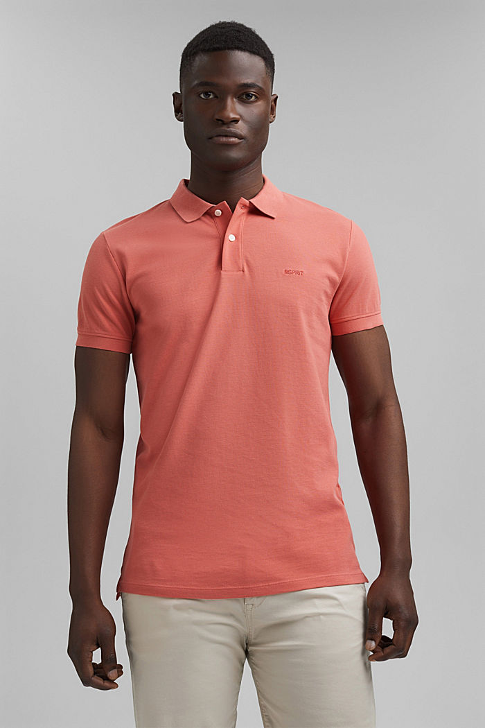 Piqué polo shirt in 100% organic cotton, CORAL RED, detail image number 0