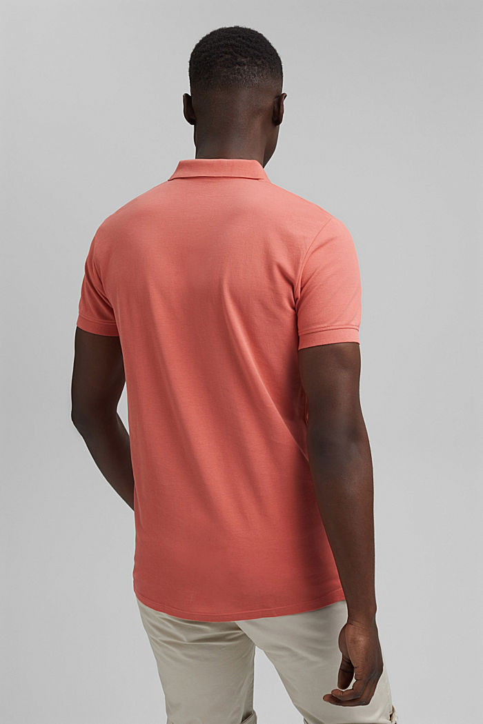 Piqué polo shirt in 100% organic cotton, CORAL RED, detail image number 3