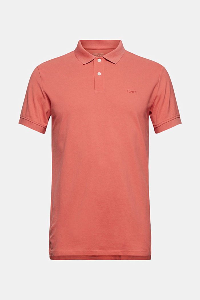 Piqué polo shirt in 100% organic cotton, CORAL RED, detail image number 6