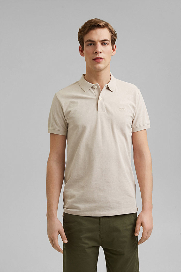 Recycled: Piqué polo shirt with organic cotton, LIGHT BEIGE, detail image number 0