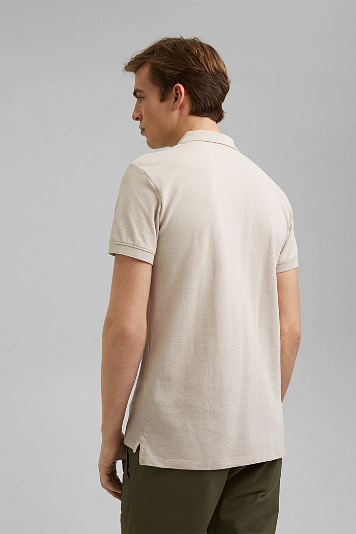 Recycled: Piqué polo shirt with organic cotton, LIGHT BEIGE, detail image number 3