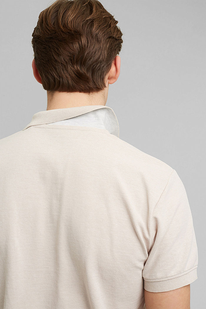 Recycled: Piqué polo shirt with organic cotton, LIGHT BEIGE, detail image number 1