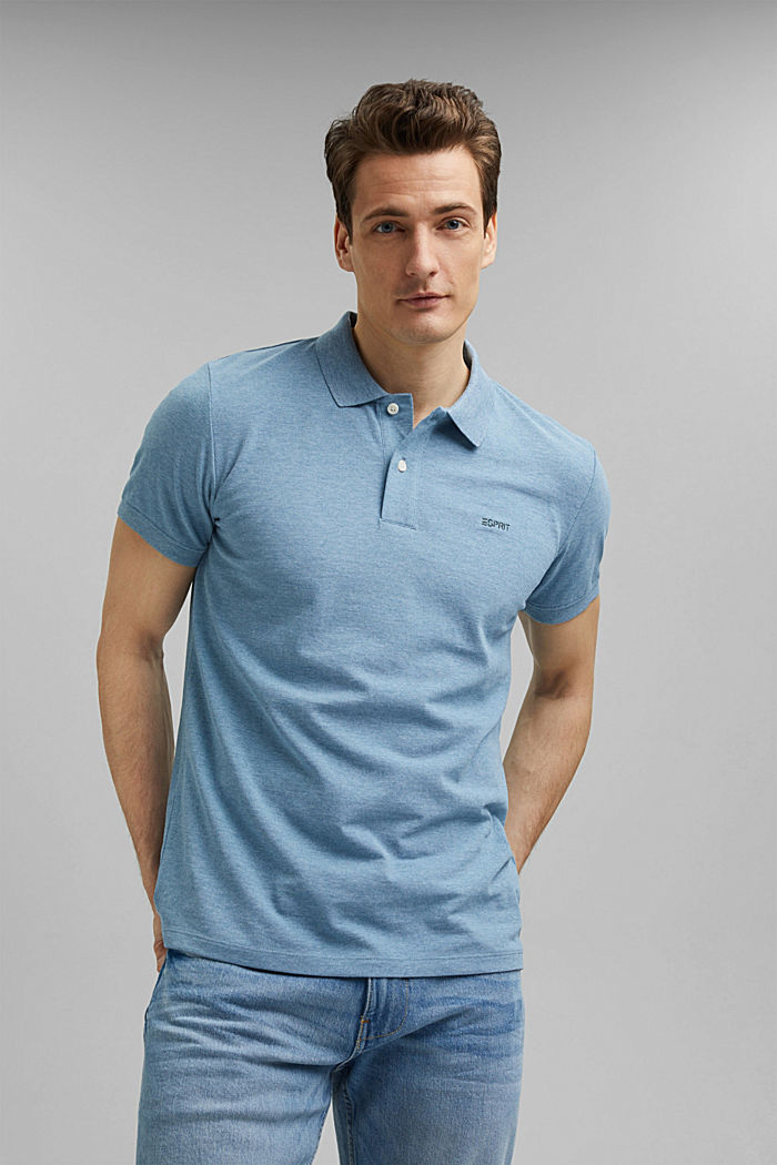 Recycled: Piqué polo shirt with organic cotton, NEW TEAL BLUE, detail image number 0