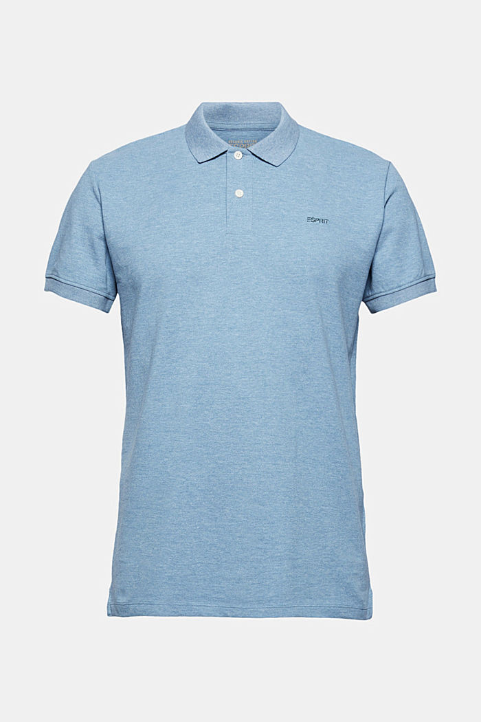 Recycled: Piqué polo shirt with organic cotton, NEW TEAL BLUE, overview