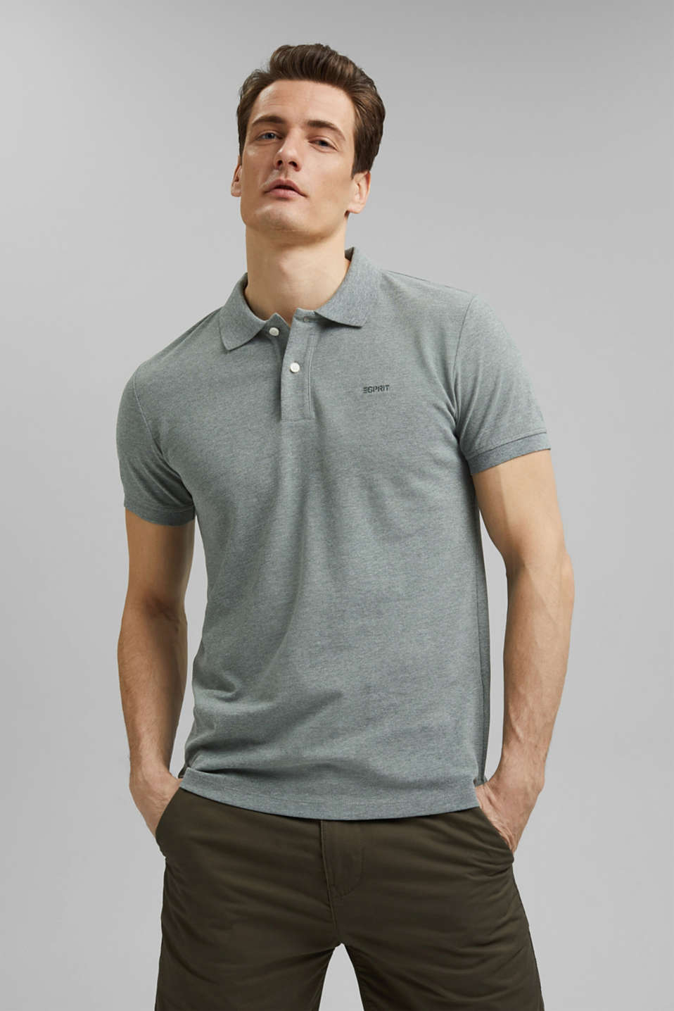 Esprit - Recycled: Piqué polo shirt with organic cotton