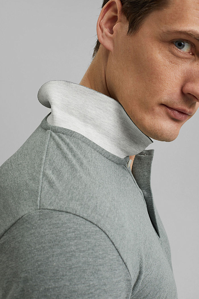 Recycled: Piqué polo shirt with organic cotton, TEAL BLUE, detail image number 4