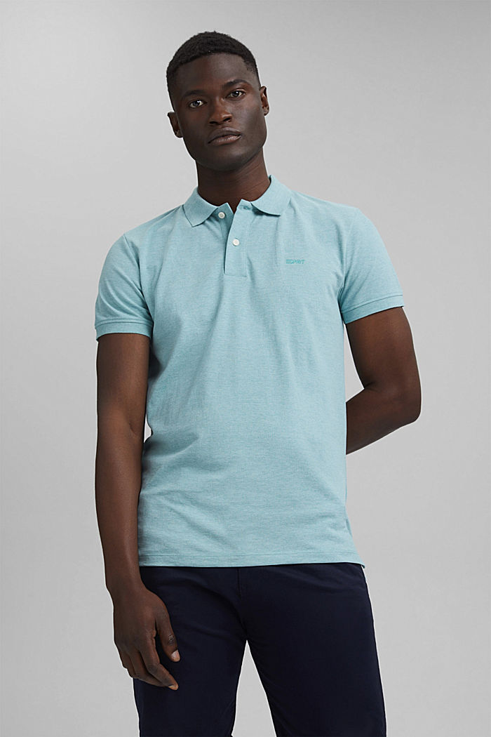 Recycled: Piqué polo shirt with organic cotton, TURQUOISE, detail image number 0