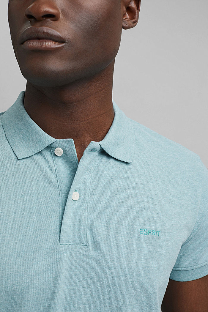 Recycled: Piqué polo shirt with organic cotton, TURQUOISE, detail image number 1