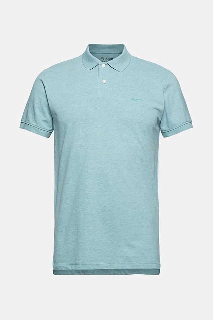 Recycled: Piqué polo shirt with organic cotton, TURQUOISE, detail image number 6