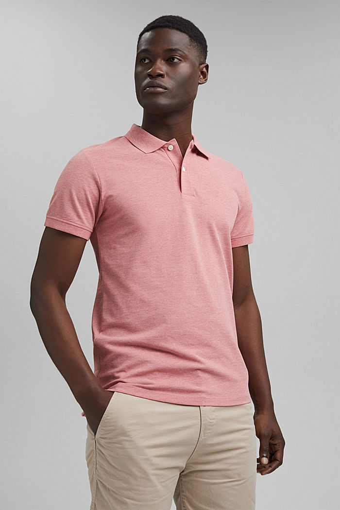 Recycled: Piqué polo shirt with organic cotton, CORAL RED, detail image number 0